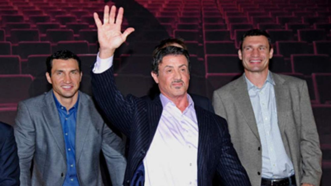 Vladimir Klitschko, Sylvester Stallone and Vitali Klitschko attend the photocall for the musical 'Rocky'