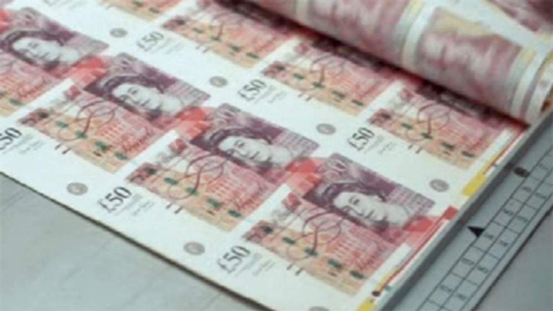 50 pound notes which have just been printed at the Bank of England