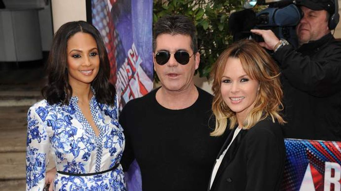 Simon Cowell with Alesha Dixon and Amanda Holden