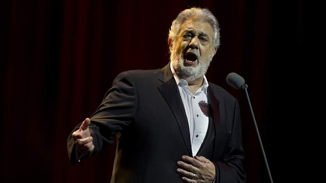Spanish tenor and conductor Placido Domingo sings during a concert in the Ziggodome in Amsterdam.