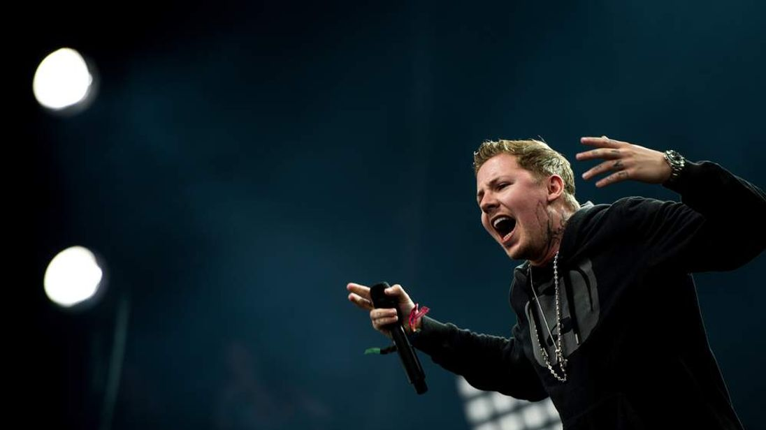Professor Green performs on the Pyramid Stage at the Glastonbury Festival