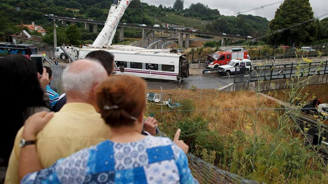 Scores of people died when a train crashed in Santiago, Galicia, Spain.