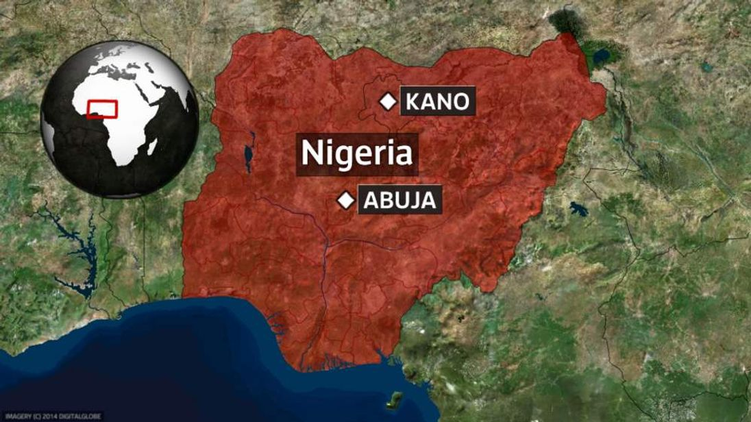 A map showing the location of Kano in Nigeria.