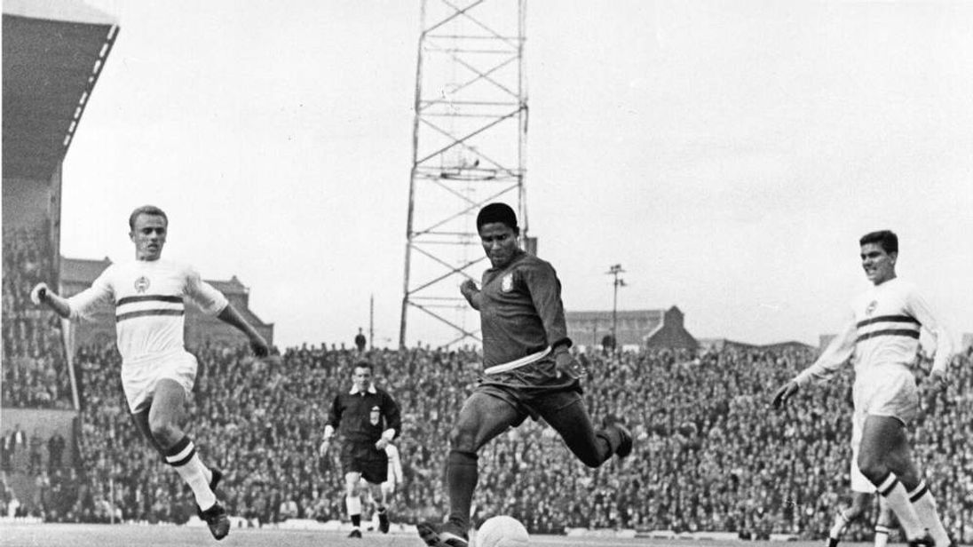 Eusebio playing Hungary at 1966 World Cup Mandatory Credit: Allsport Hulton/Archive