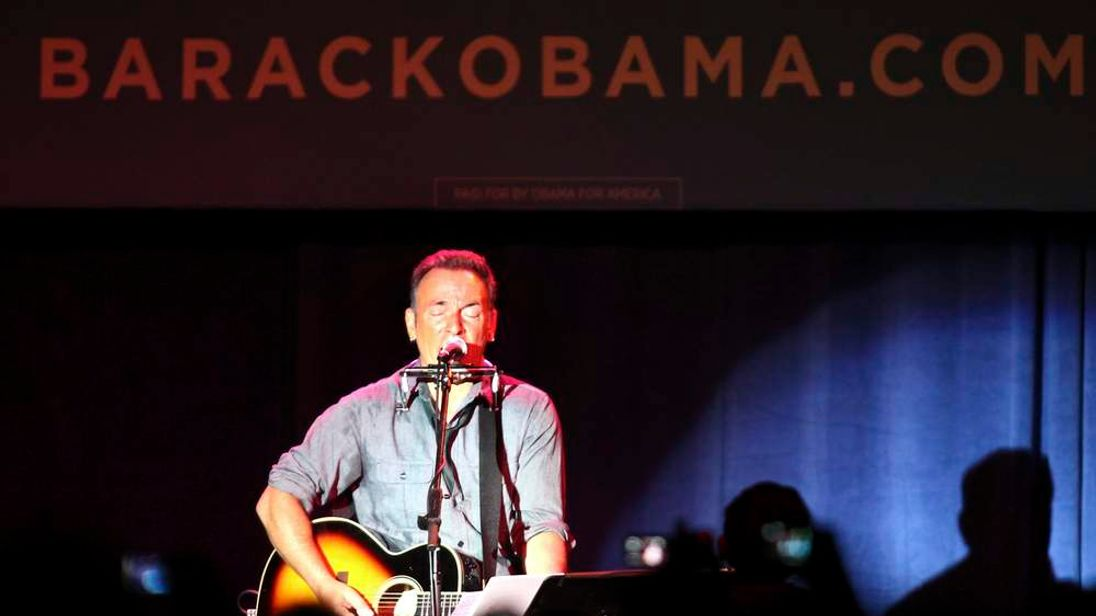 Rocker Bruce Springsteen performs at a concert rally for Obama in Ohio