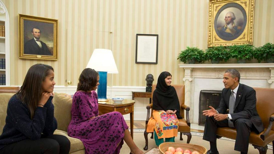 U.S. President Obama, First Lady Michelle Obama and their daughter Malia meet with Pakistani teenage activist Malala Yousafzai at the White House