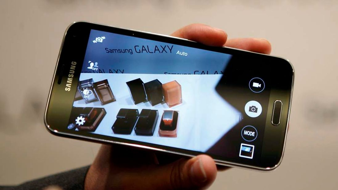 New Samsung Galaxy S5 smartphone is displayed at the Mobile World Congress in Barcelona