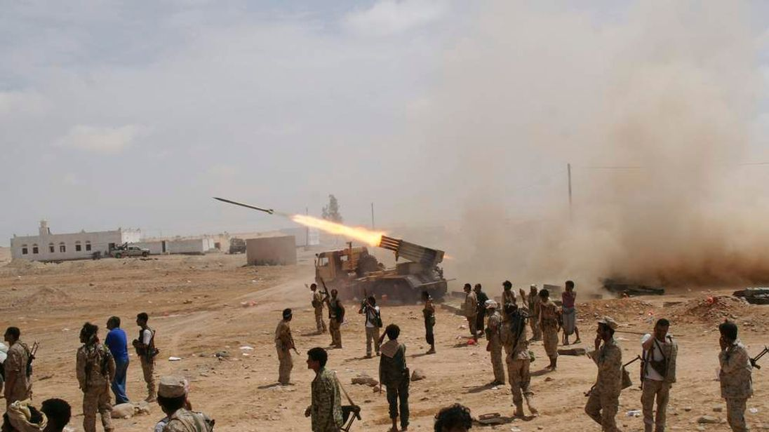 Yemeni army soldiers fire rockets at mountainous positions of al Qaeda militants Mayfaa, in the southeastern province of Shabwa.