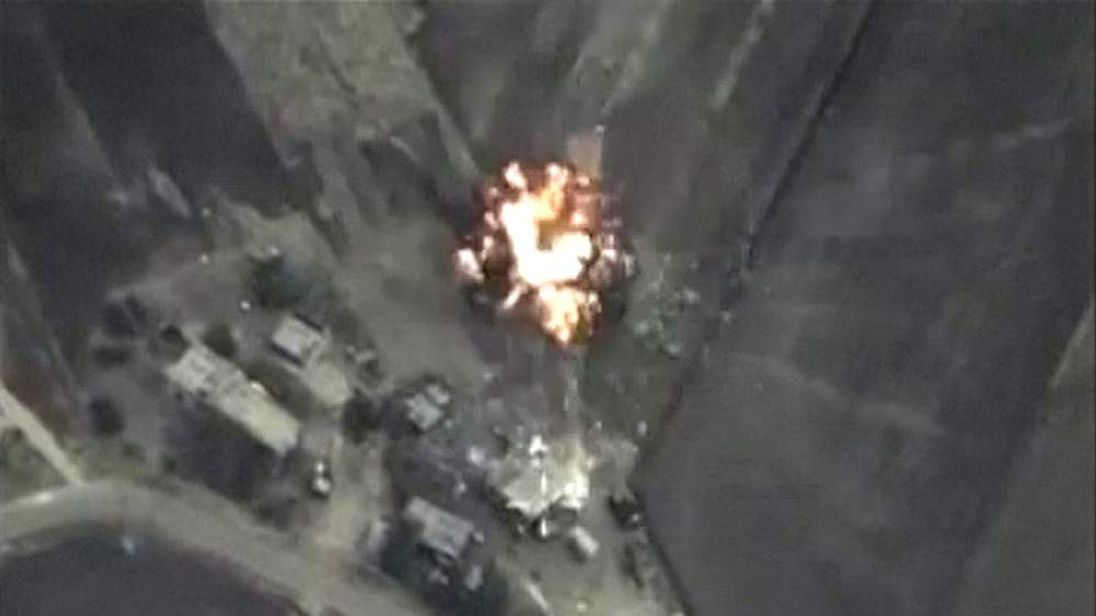 Frame grabs shows airstrikes carried out by Russian air force against IS ground positions in Syria