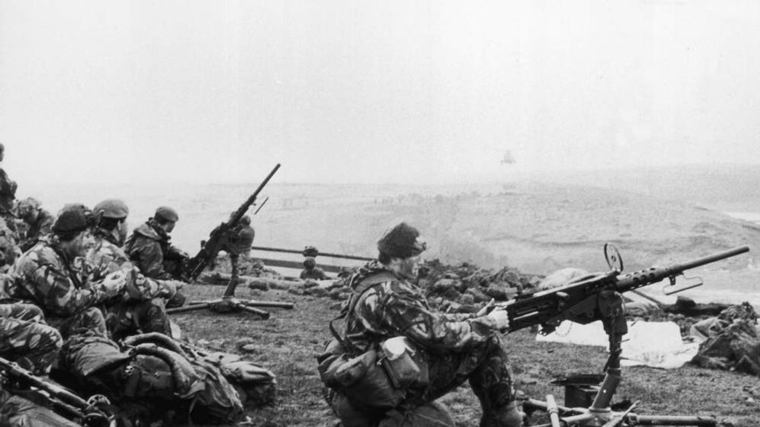 British soldiers in action during the Falklands War