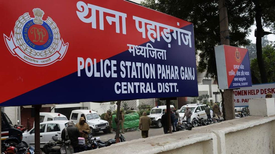 Police station sign in New Delhi