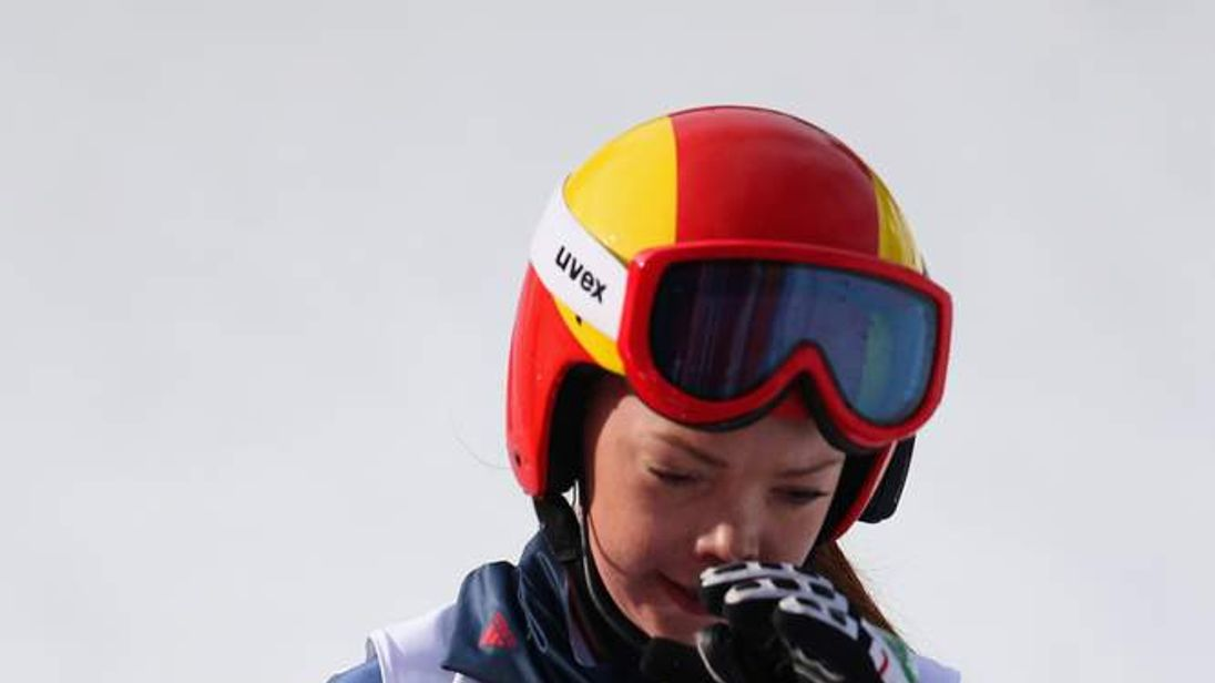 Visually-impaired skier Jade Etherington reacts to winning silver in the women's downhill at the Winter Paralympics in Sochi.