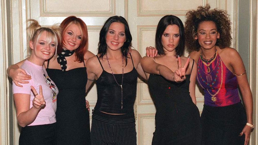 The Spice Girls pose in Paris in December 1997