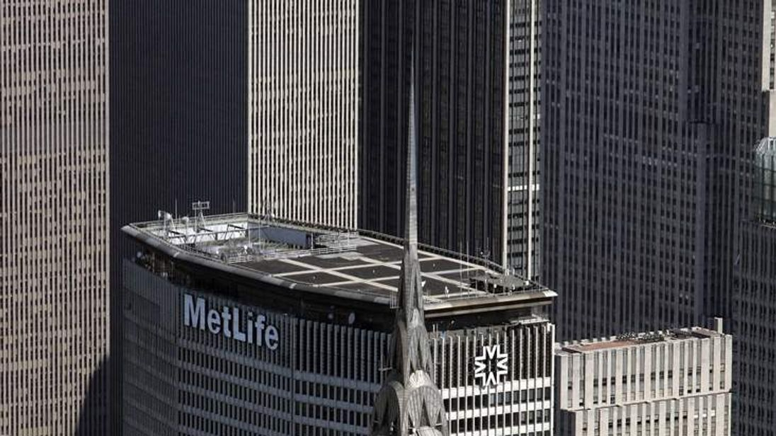 Aerial view of the Chrysler Building and MetLife building