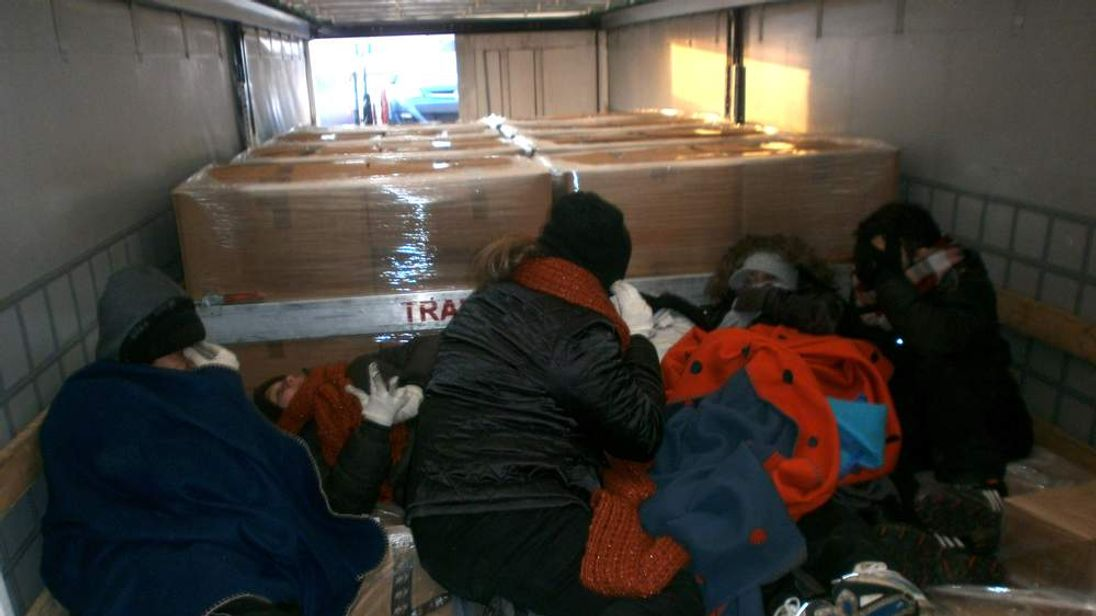Six stowaways inside a lorry at the Port of Calais