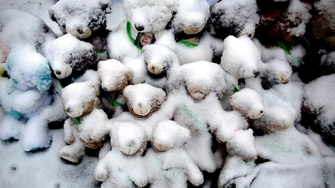 Snow-covered teddy bears honour the Newtown victims on Christmas