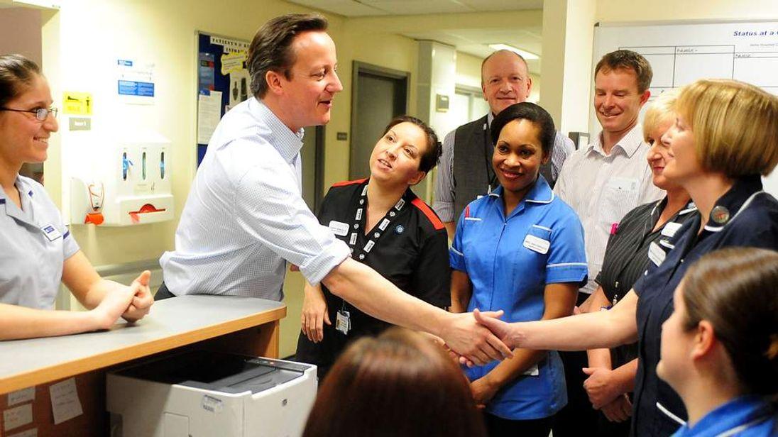 David Cameron at the Royal Derby Hospital