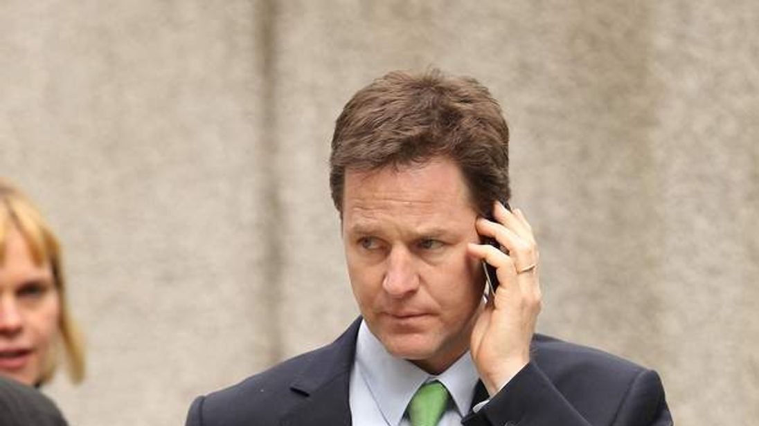 Nick Clegg Using Mobile Phone