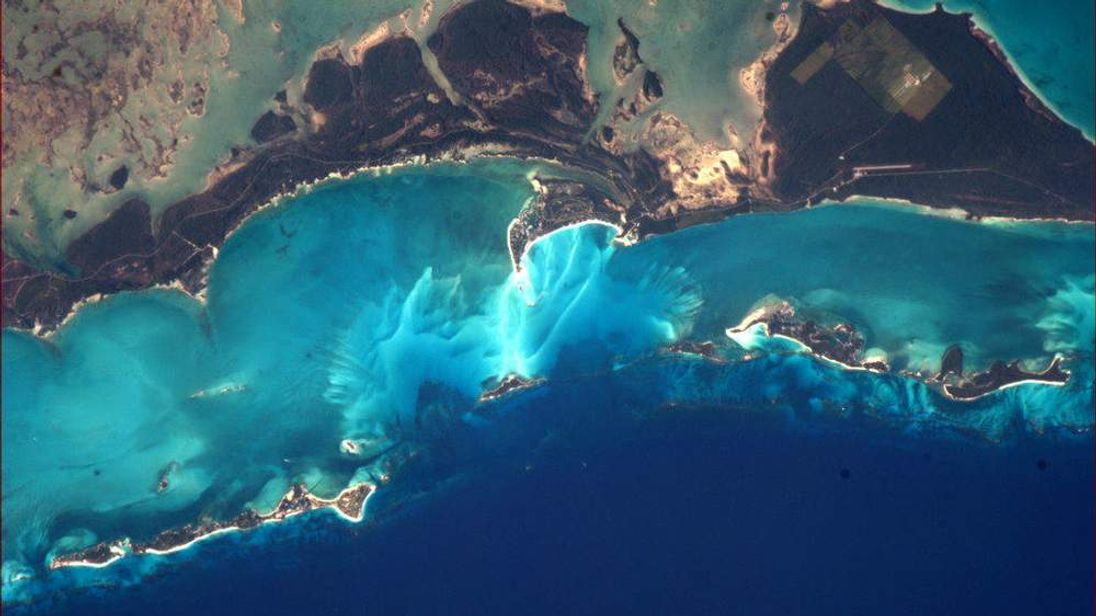 Twitter caption: It's hard to believe the colours of the Bahamas from space