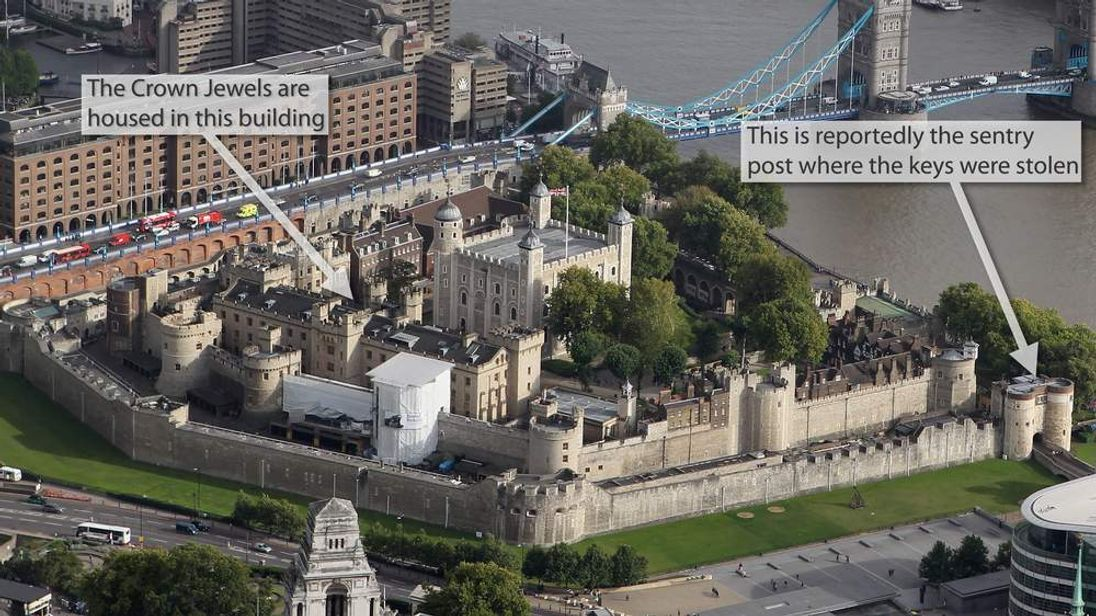 An aerial view of The Tower Of London.