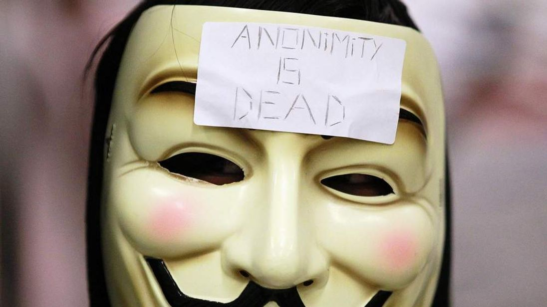 The hacker group, Anonymous, stages a demonstration