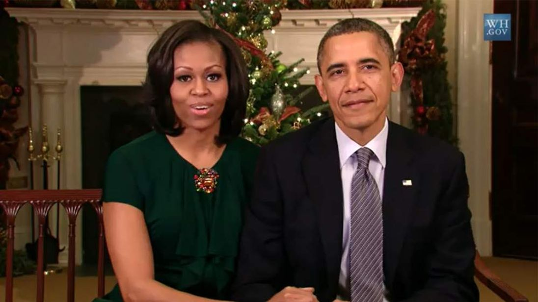 President Barack Obama and First Lady Michelle give their Christmas message to the nation