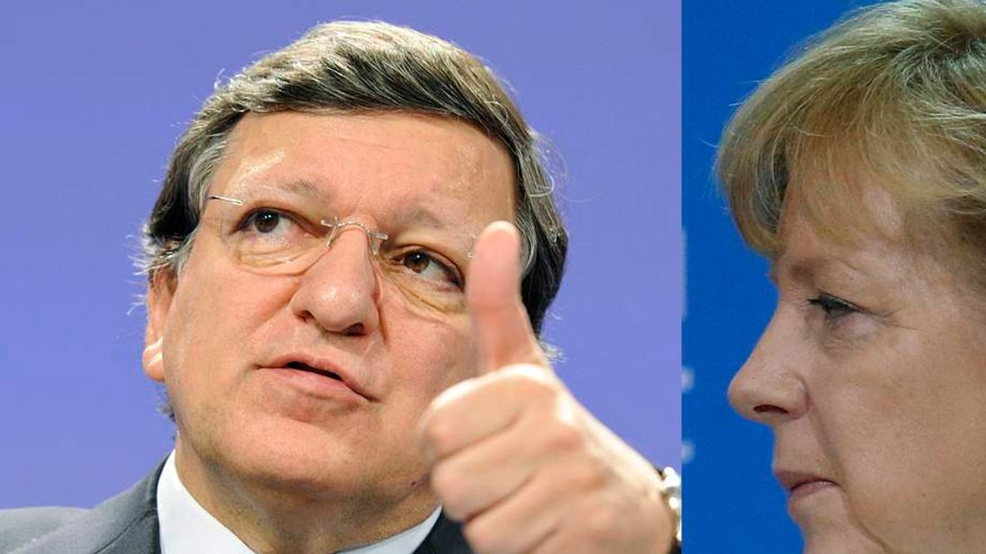 European Commission president Jose Manuel Barroso and Germany's Angela Merkel