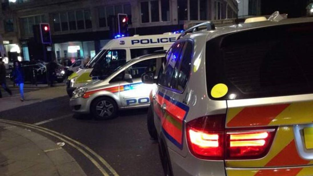 Police at the scene of a drive-by shooting close to Waterloo Bridge. Pic: Ben Jackson.