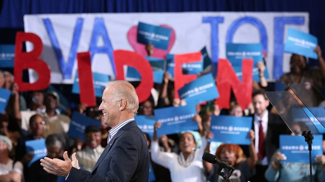 U.S. Vice President Joe Biden arrives on stage during a campaign event at the Chesterfield Country Fairgrounds