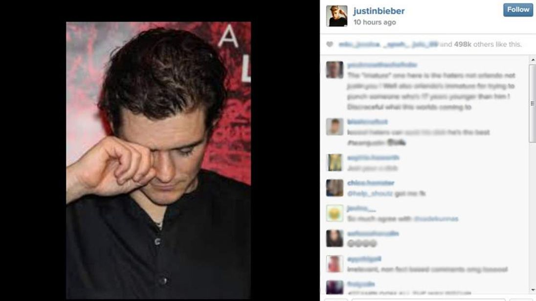 Justin Bieber's Instagram photo.