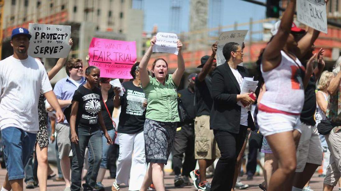 Demonstrators in Clayton, Missouri