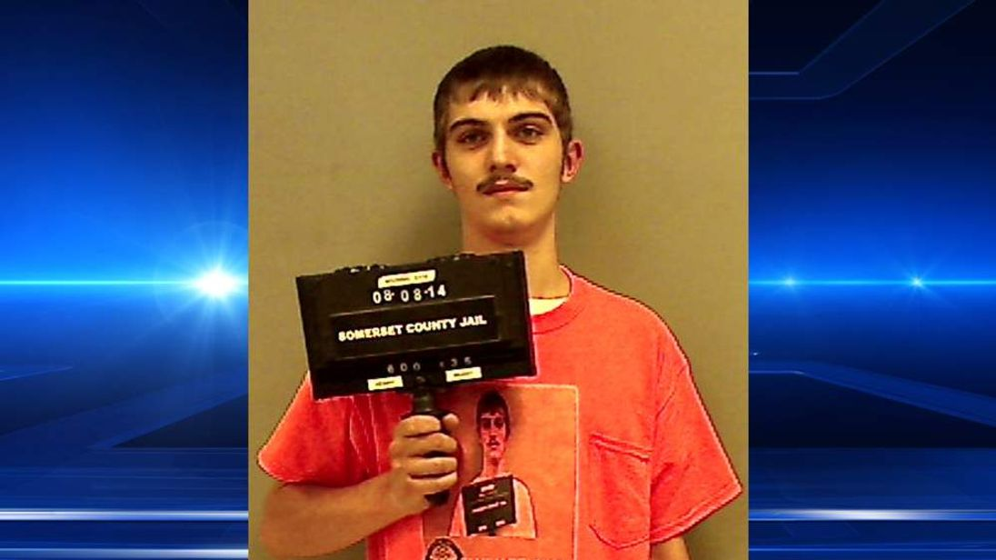 Maine's Robert Burt donned a T-shirt with his mugshot for a mugshot. Pic: Somerset County Jail