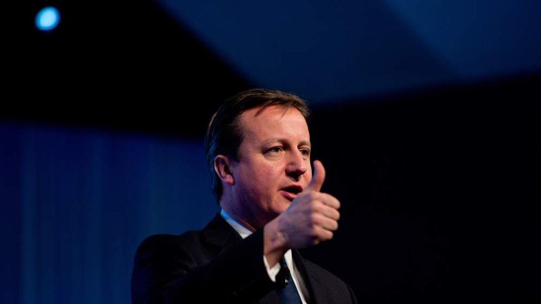 British Prime Minister David Cameron speaks on January 24, 2013 during a session of the annual World Economic Forum