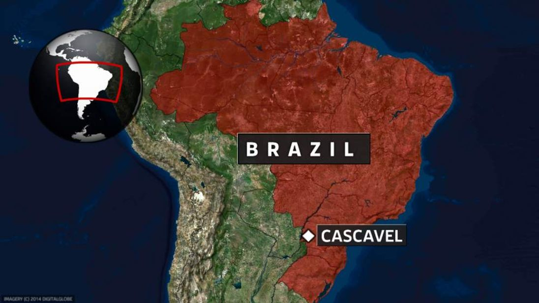 A map showing the location of Cascavel in Brazil.
