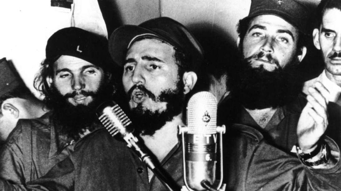 Cuban revolutionary Fidel Castro during an address in Cuba in 1959