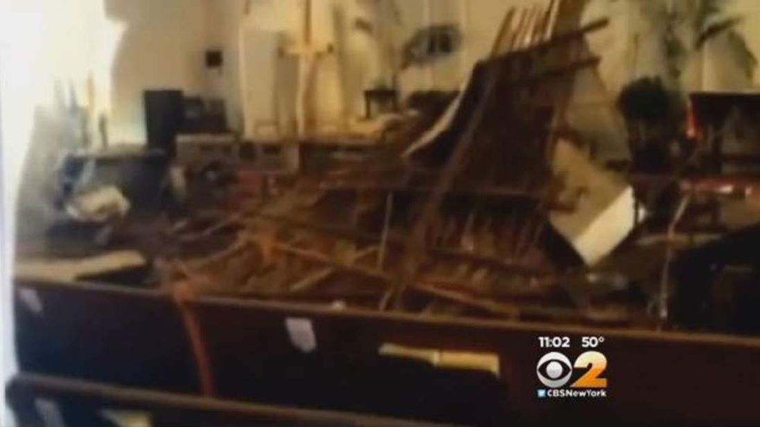 Church Roof Collapse. Pic: CBS
