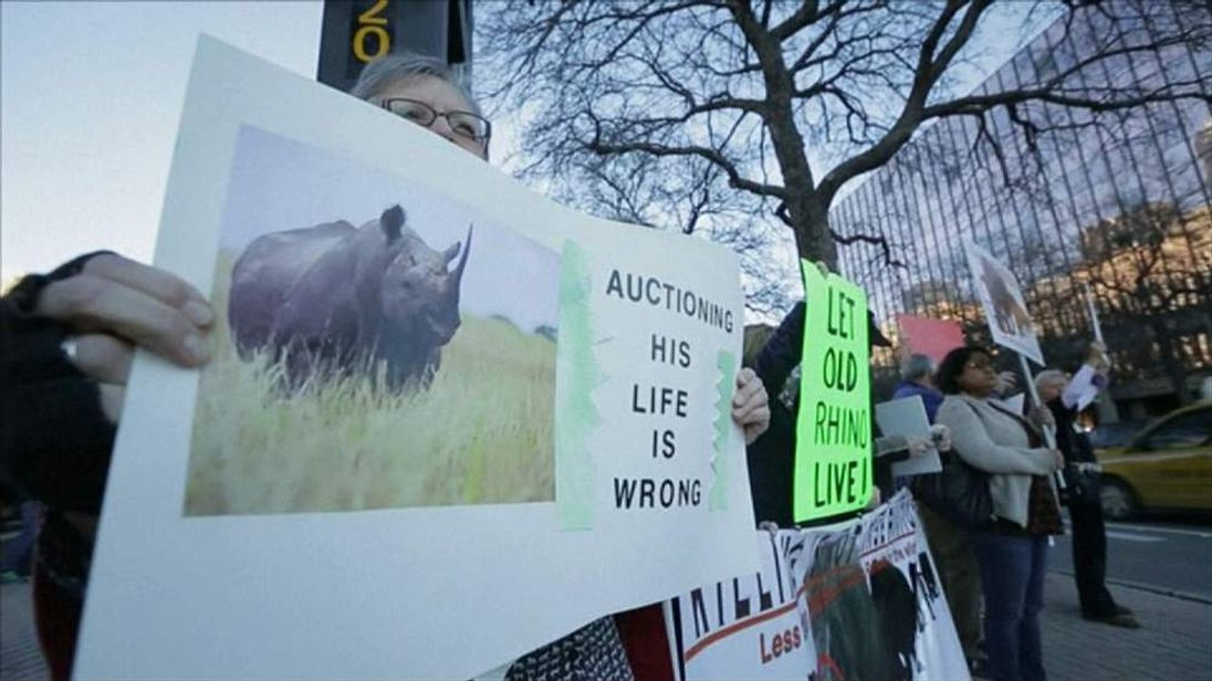 Protest in Dallas against black rhino hunt