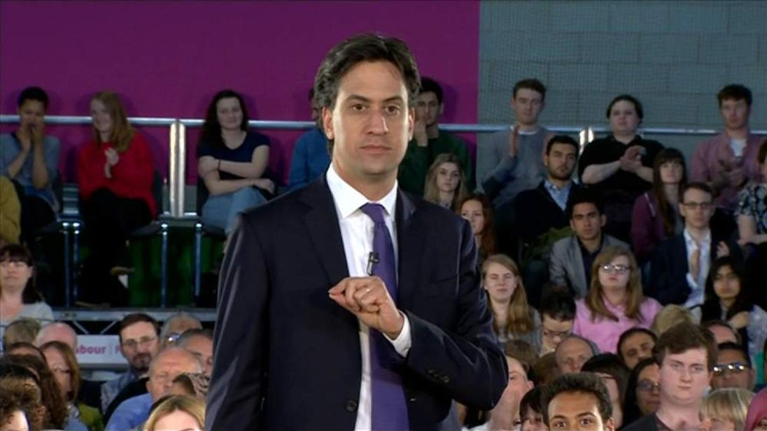 Labour leader Ed Miliband in Manchester