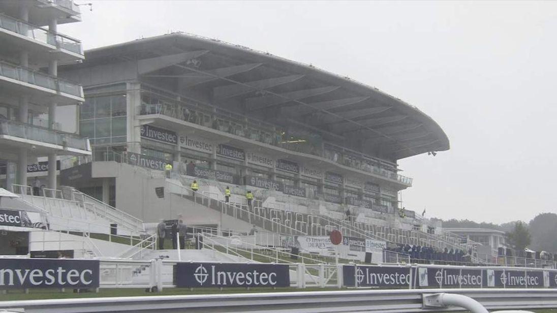 Heavy rain hits Epsom Racecourse before Derby