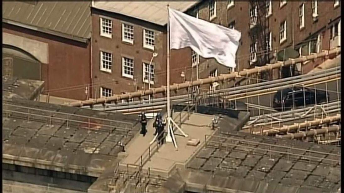 Mystery white flags on Brooklyn Bridge, New York