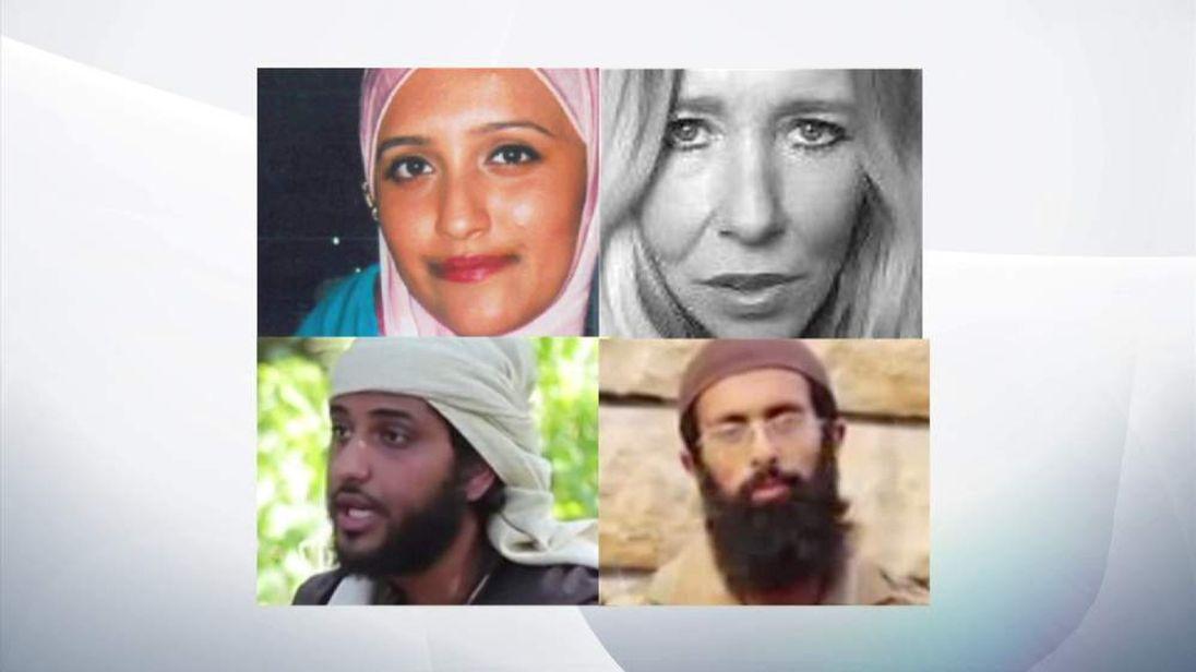 Clockwise from left: Aqsa Mahmood, Sally Jones, Nasser Muthana and Omar Hussain.