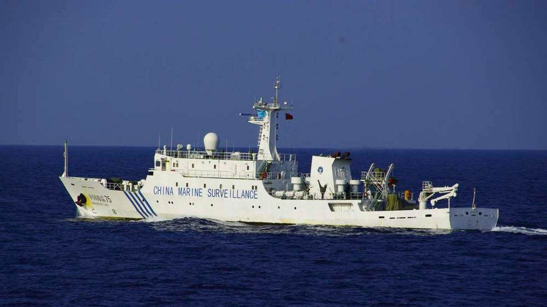 Chinese marine surveillance ship Haijian No.75 cruises in waters northwest of disputed islands in the East China Sea