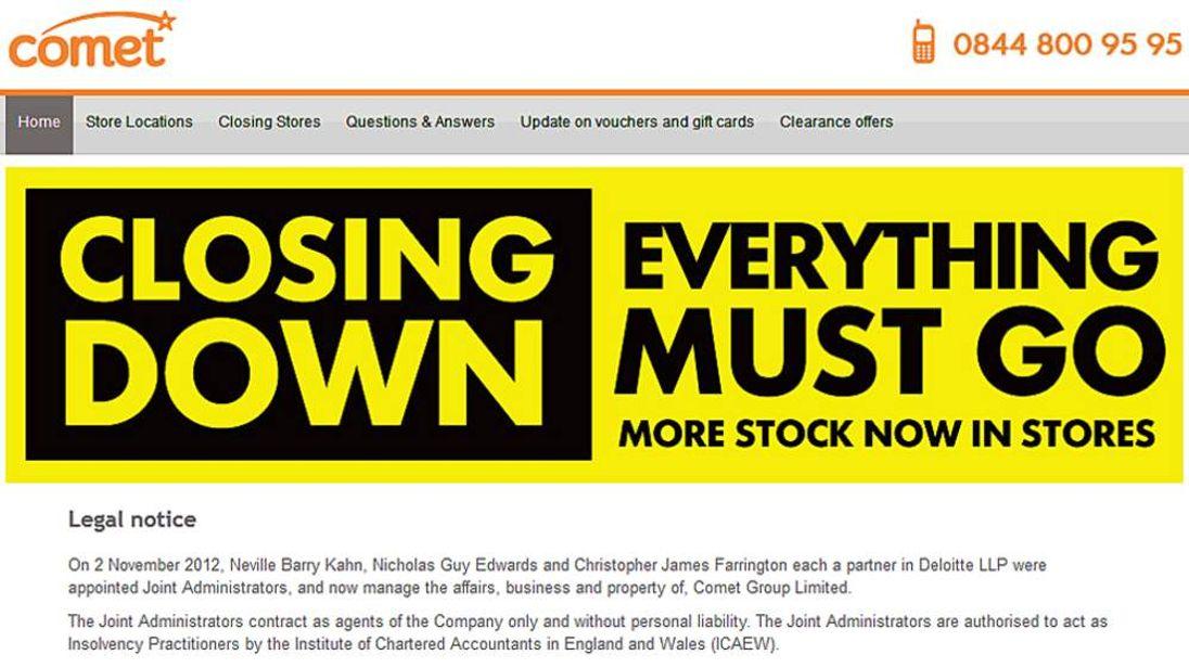 Comet website closing down notice