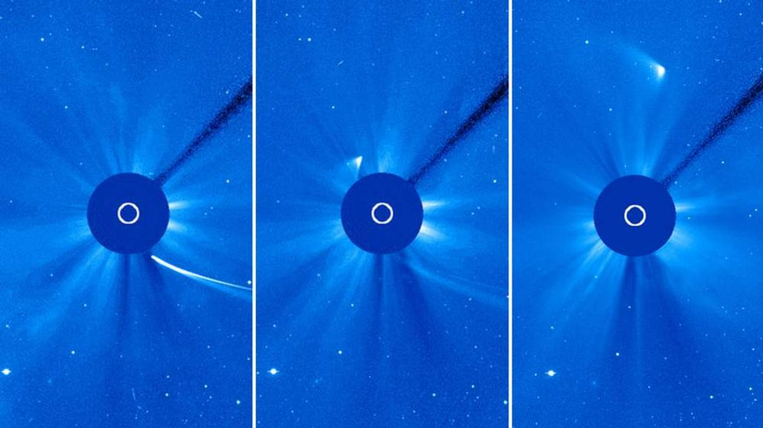 Comet Ison emerges on the other side of the Sun. Pic: ESA/Nasa/SOHO