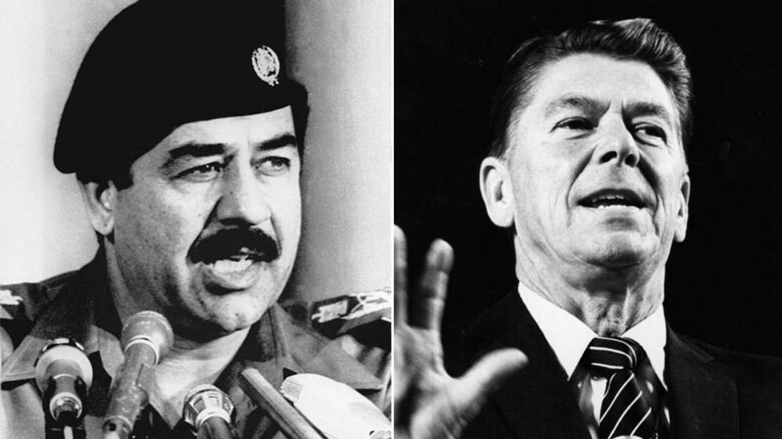 Saddam (L) and Reagan (R)