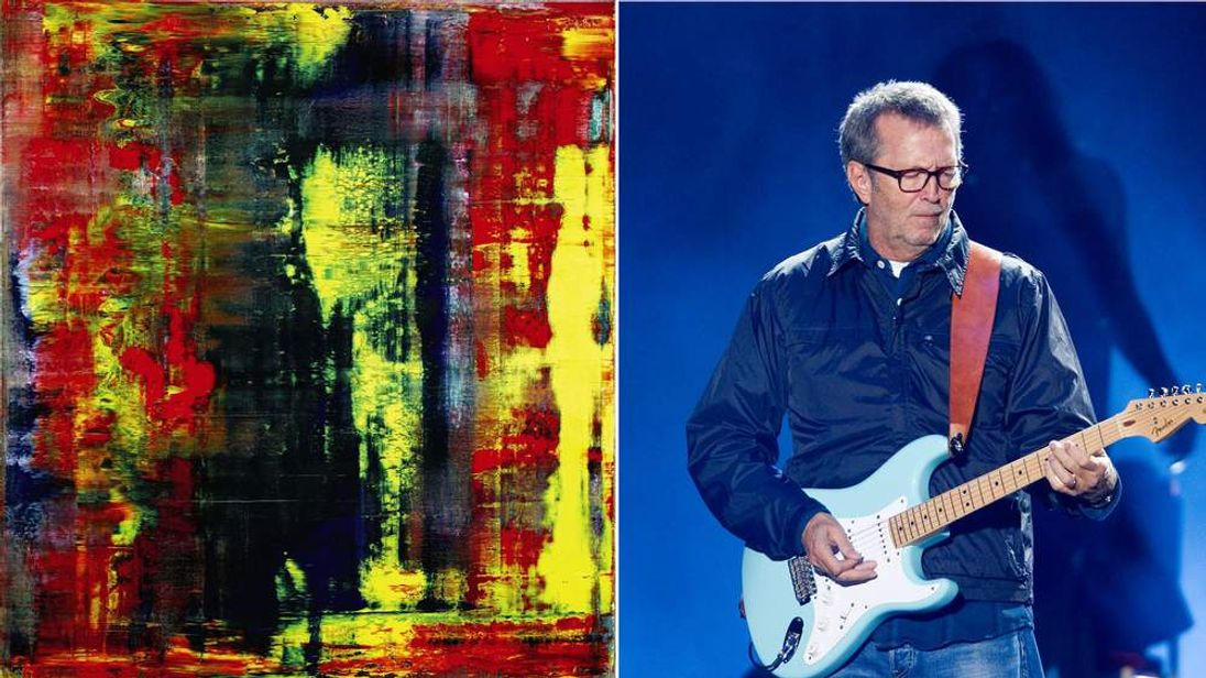 Gerhard Richter painting 'Abstraktes Bild' and Eric Clapton