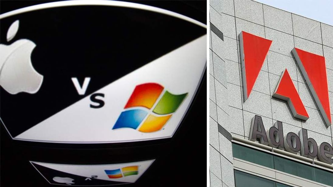 Apple Microsoft and Adobe logos