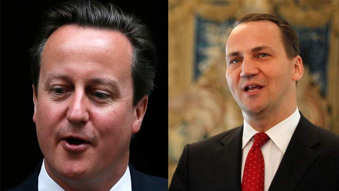 Composite image of David Cameron and Polish Foreign Minister Radoslaw Sikorski