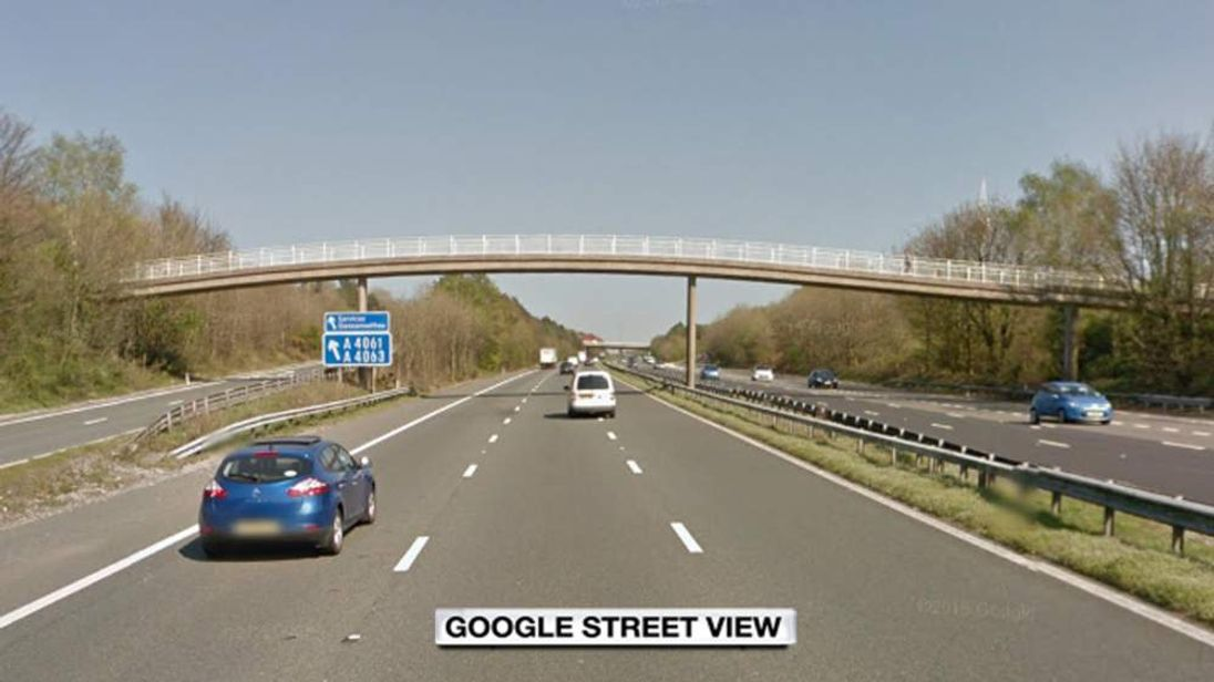 A google street view of the M4 motorway near Bridgend