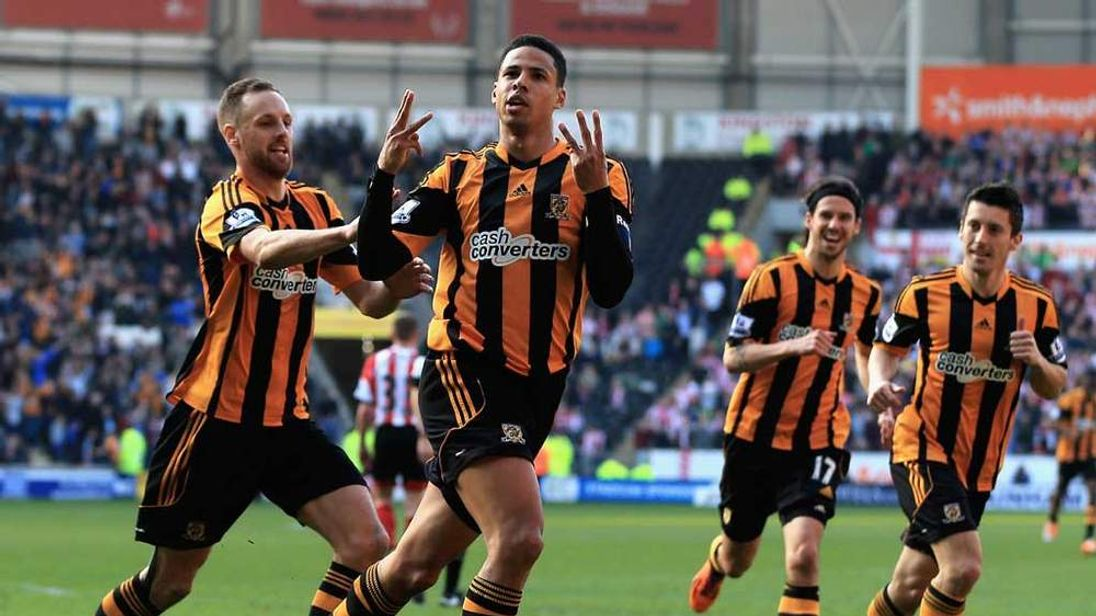 Curtis Davies celebrates after scoring for Hull City